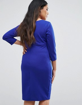 photo Pencil Dress with Pleated Neckline by Goddiva Plus, color Royalblue - Image 2