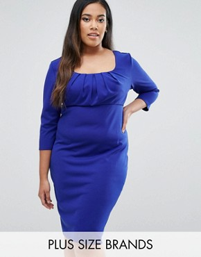 photo Pencil Dress with Pleated Neckline by Goddiva Plus, color Royalblue - Image 1