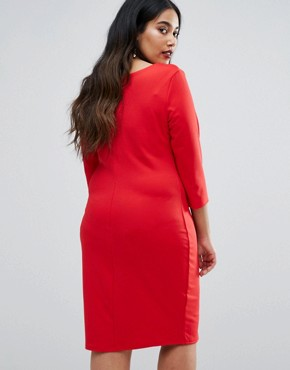 photo Pencil Dress with Pleated Neckline by Goddiva Plus, color Red - Image 2