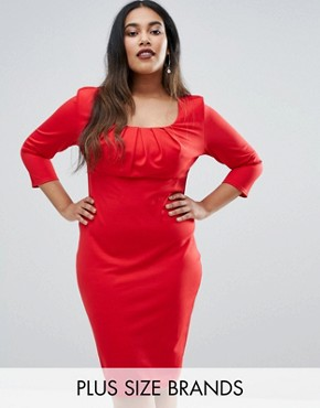 photo Pencil Dress with Pleated Neckline by Goddiva Plus, color Red - Image 1