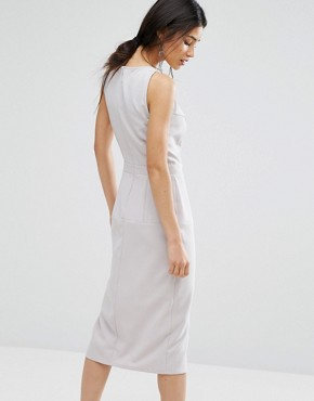 photo Pinafore Midi Dress by Alter, color Light Grey - Image 2