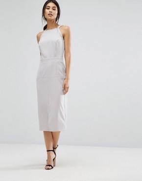 photo Pinafore Midi Dress by Alter, color Light Grey - Image 1