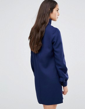 photo Plunge Neck Tunic Dress With Collar by Re:Dream, color Navy - Image 2