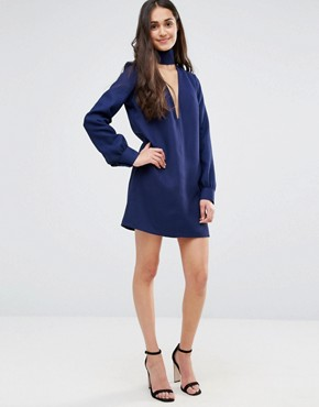 photo Plunge Neck Tunic Dress with Collar by Re:Dream, color Navy - Image 4