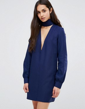 photo Plunge Neck Tunic Dress With Collar by Re:Dream, color Navy - Image 1