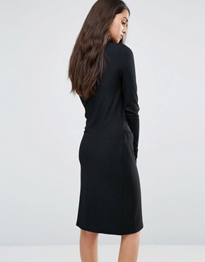 photo Twist Knit Dress with Gathered Side by Re:Dream, color Black - Image 2