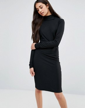 photo Twist Knit Dress with Gathered Side by Re:Dream, color Black - Image 1