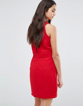 photo Low Front Pinafore Dress with Low Back by Re:Dream, color Red - Image 2