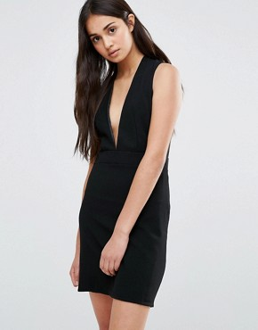 photo Low Front Pinafore Dress With Low Back by Re:Dream, color Black - Image 1