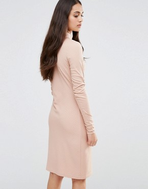 photo Twist Knit Dress with Gathered Side by Re:Dream, color Pale Pink - Image 2
