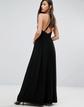 photo Strappy Halter Neck Maxi with Thigh Split by Stylestalker, color Noir - Image 2