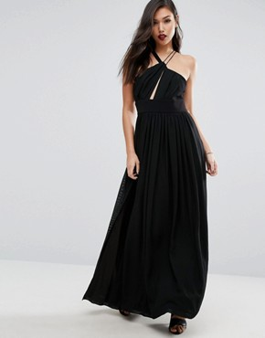 photo Strappy Halter Neck Maxi with Thigh Split by Stylestalker, color Noir - Image 1