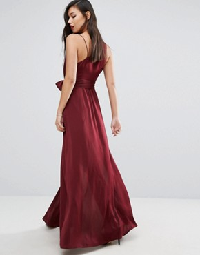 photo One Shoulder Maxi Dress with Thigh Split by Stylestalker, color Aubergine - Image 2
