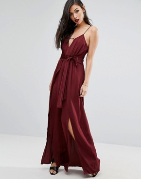photo One Shoulder Maxi Dress with Thigh Split by Stylestalker, color Aubergine - Image 1