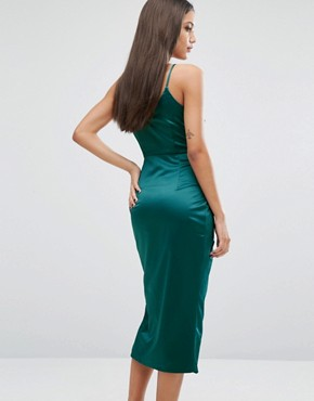 photo Cami Midi Dress In Satin by Lavish Alice, color Teal - Image 2