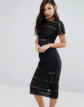 photo Broderie Anglaise Midi Dress with Cut Out Detail by Stylestalker, color Noir - Image 1