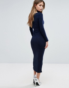 photo Ribbed Midi Dress with Hook & Eye Detail by Lavish Alice, color Navy - Image 2