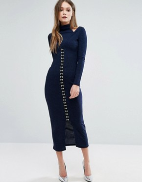 photo Ribbed Midi Dress with Hook & Eye Detail by Lavish Alice, color Navy - Image 1