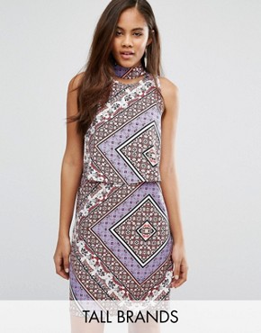 photo Dress with Cut Out Back In Scarf Print by Influence Tall, color  - Image 1