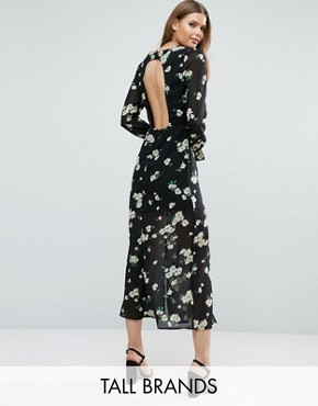 photo Dress with Cut Out Back In Floral Print by Influence Tall - Image 1