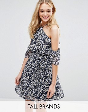 photo Dress with Ruffles In Ditsy Floral Print by Influence Tall, color Navy - Image 1