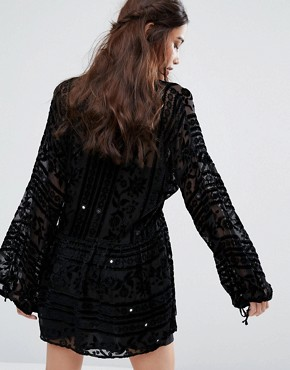photo Dress with Mirror Detail in Velvet Burnout by For Love and Lemons, color Noir - Image 2