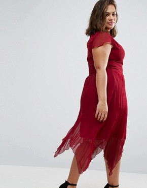 photo Dress with Pleated Hem and Cap Sleeves by Praslin Plus, color Berry - Image 2