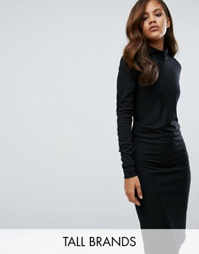photo Twist Knit Dress with Gathered Side by Re:Dream Tall, color Black - Image 1