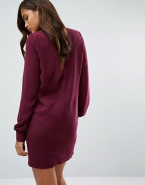 photo Plunge Neck Tunic Dress with Collar by Re:Dream Tall, color Berry - Image 2