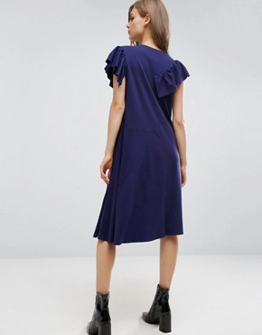 photo T-Shirt Dress with Frill Detail by ASOS, color Navy - Image 2