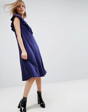 photo T-Shirt Dress with Frill Detail by ASOS, color Navy - Image 1