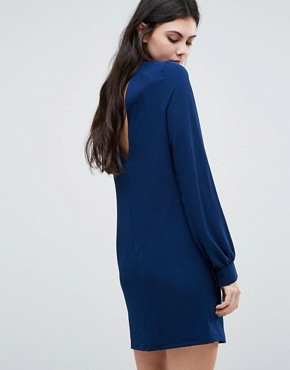 photo Plunge Neck Tunic Dress With Collar by Re:Dream Tall, color Navy - Image 2