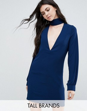 photo Plunge Neck Tunic Dress With Collar by Re:Dream Tall, color Navy - Image 1