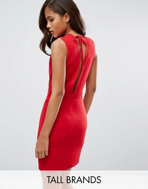 photo Low Front Pinafore Dress with Low Back by Re:Dream Tall, color Red - Image 1