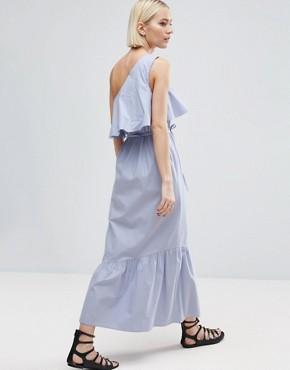 photo Cotton One Shoulder City Maxi Dress by ASOS, color Pale Blue - Image 2