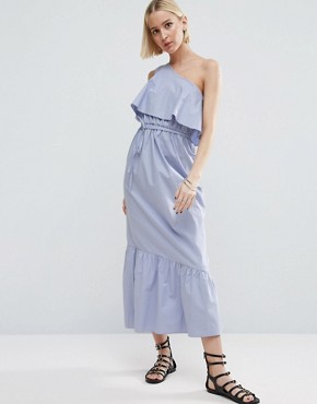 photo Cotton One Shoulder City Maxi Dress by ASOS, color Pale Blue - Image 1