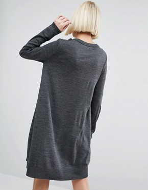 photo Knit Dress With Cut Out Neck Detail by ASOS, color Charcoal - Image 2