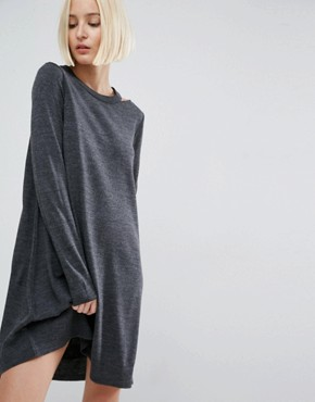 photo Knit Dress With Cut Out Neck Detail by ASOS, color Charcoal - Image 1