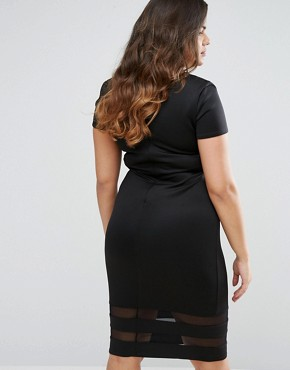 photo Dress with Sheer Inserts by Goddiva Plus, color Black - Image 2