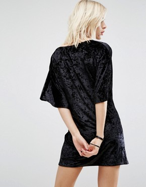 photo Velvet Wrap Front Kimono Dress by Story Of Lola, color Black - Image 2