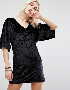 photo Velvet Wrap Front Kimono Dress by Story Of Lola, color Black - Image 1