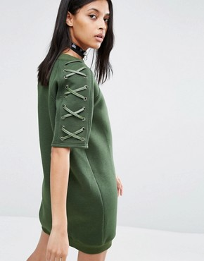 photo Neoprene Dress with Lace Up Sleeve by Story Of Lola, color Olive - Image 2