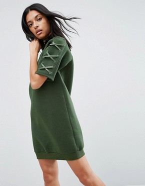 photo Neoprene Dress with Lace Up Sleeve by Story Of Lola, color Olive - Image 1