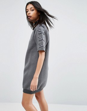 photo Neoprene Dress With Lace Up Sleeve by Story Of Lola, color Charcoal Grey - Image 2