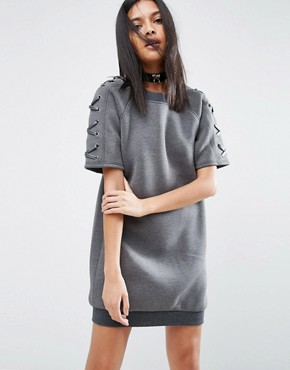 photo Neoprene Dress with Lace Up Sleeve by Story Of Lola, color Charcoal Grey - Image 1
