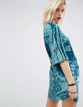 photo Velvet Wrap Front Kimono Dress by Story Of Lola, color Teal - Image 2
