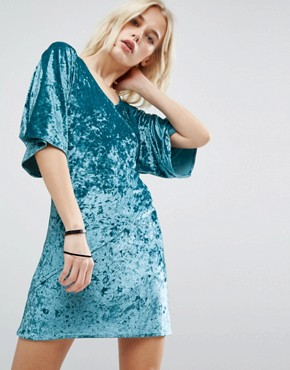 photo Velvet Wrap Front Kimono Dress by Story Of Lola, color Teal - Image 1