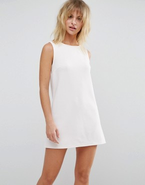 photo Sleeveless Ribbed Bow Back Mini Dress by ASOS PETITE, color Nude - Image 2