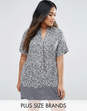 photo Tunic Dress In Floral Print by Koko Plus, color Ivory/Navy - Image 1