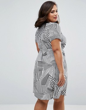 photo Dress with Zip Front In Stripe Print by Koko Plus, color Ivory - Image 2